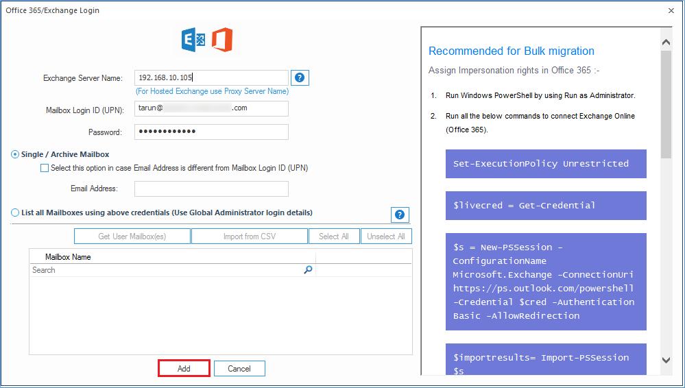 Input the Exchange Server name