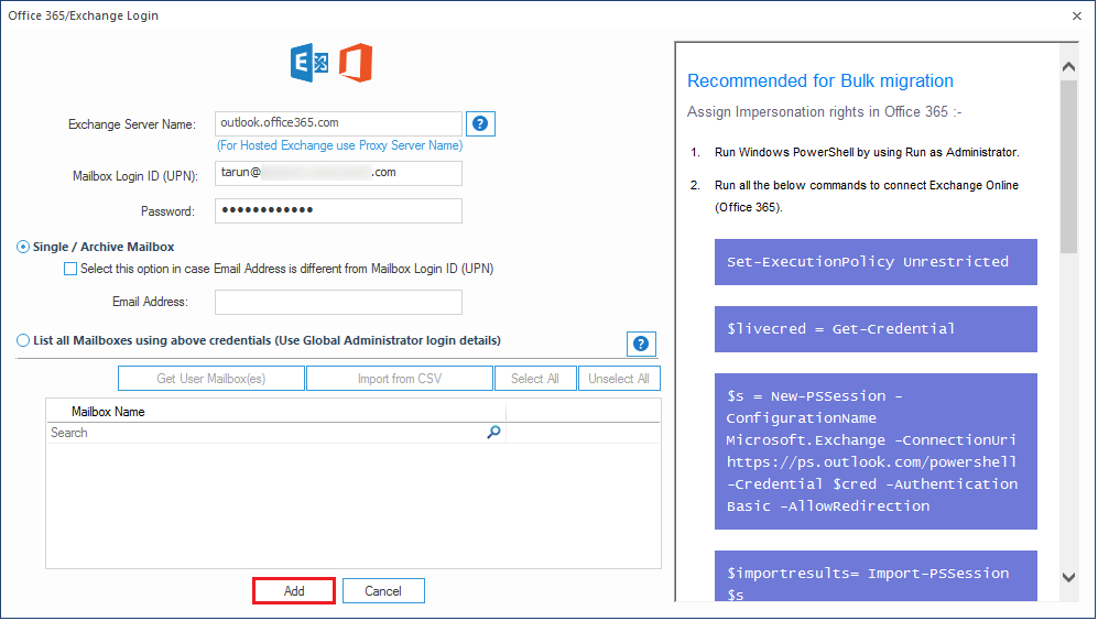 Input the login credentials of the Office 365