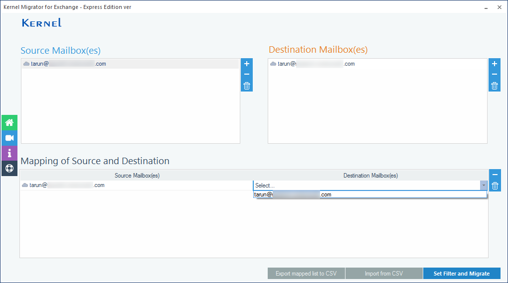 selecting both source and destination account