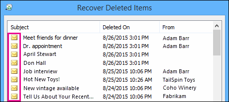 Recoverable Items folder