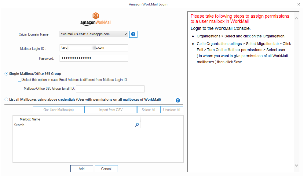 Enter the credentials for Amazon WorkMail