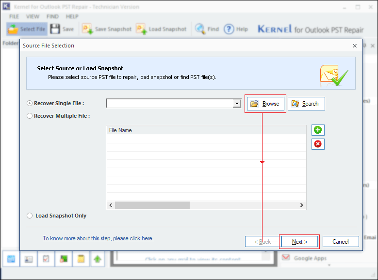 Browse to select Outlook PST file