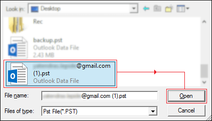 Select the PST file
