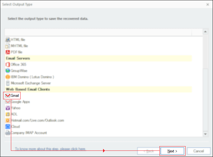 Select Gmail as output