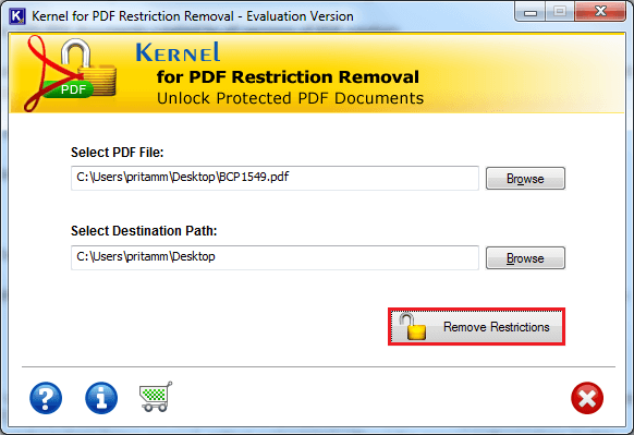 Choose PDF file and click on Remove Restrictions button