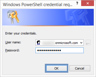 enter the Office 365 account administrator credentials