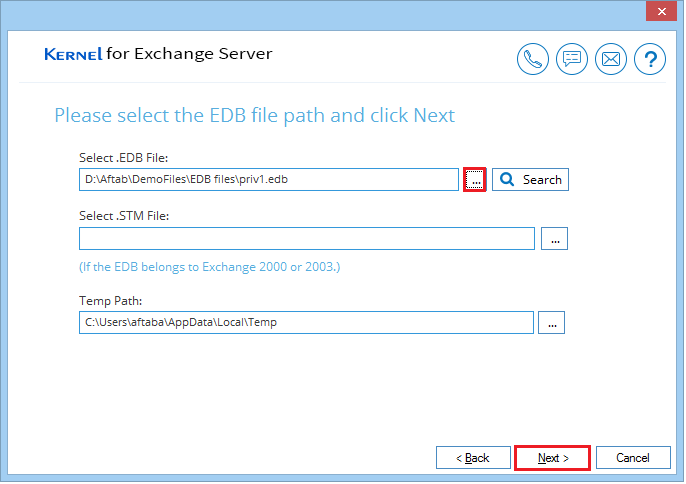 Select the EDB file from its location