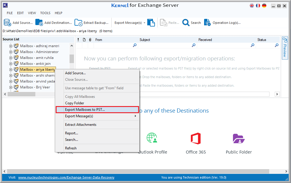 Export Mailboxes to PST