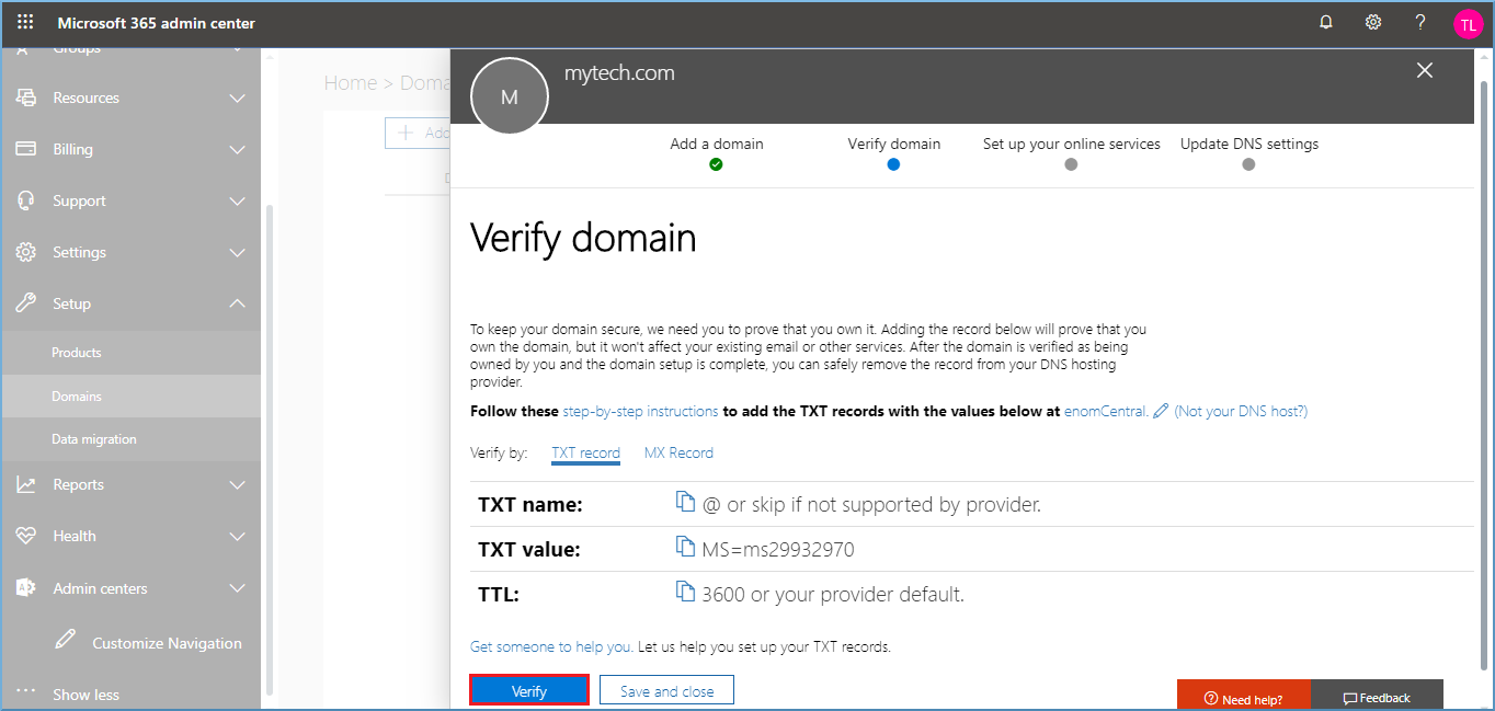 Choose the method to verify the domain