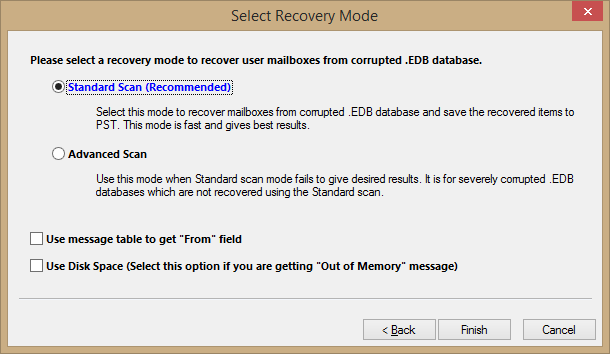 mode to scan and repair the EDB file