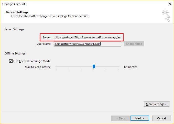 Check Exchange Server name