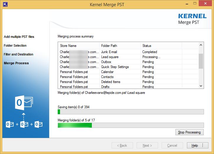 start merging PST files