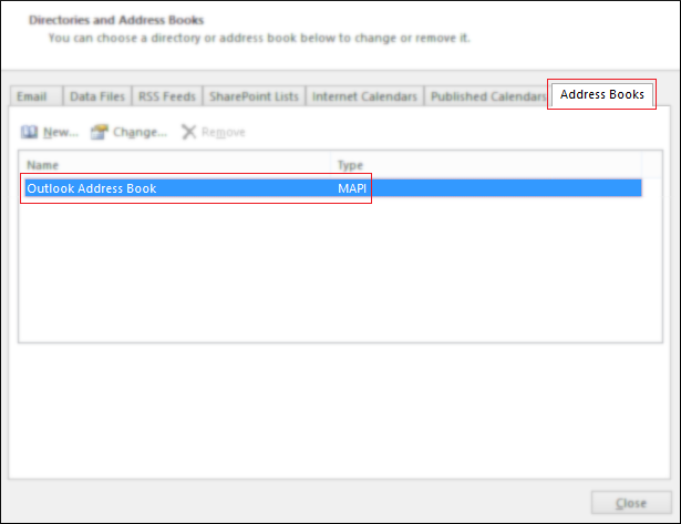 Outlook Address Book
