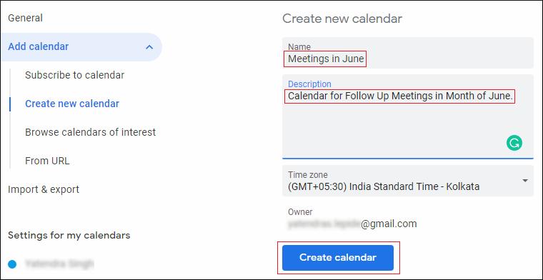 configure the calendar settings