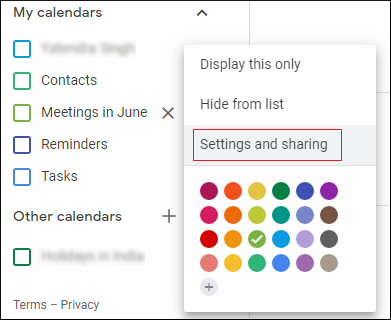 Settings and sharing
