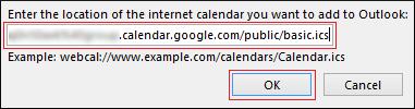 Google Calendar address in iCal