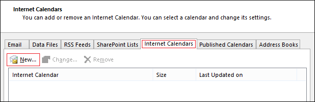 Switch to Internet Calendars