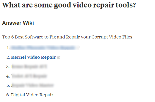 Kernel video repair in Quora