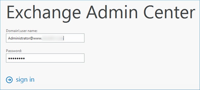 Login to Exchange Admin Center