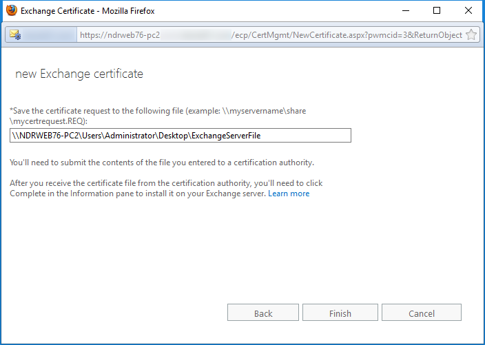 Save the certificate request to the following file