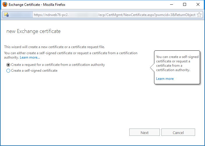 create a request for a certificate from a certification authority