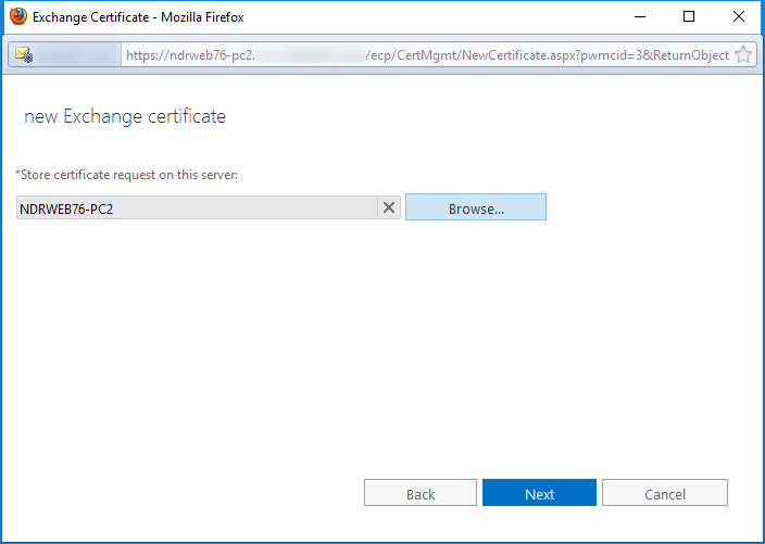 Select the Exchange server for SSL certificate
