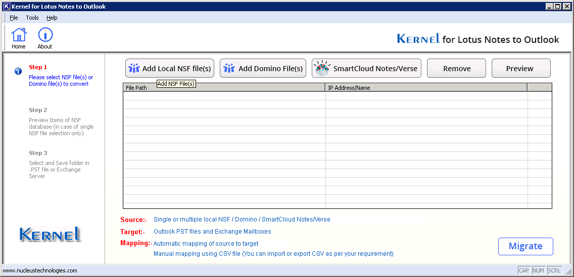Lotus Notes to Outlook software home screen