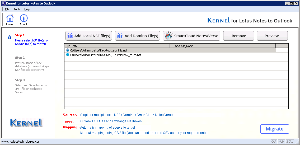 Click on migrate button to start migration process