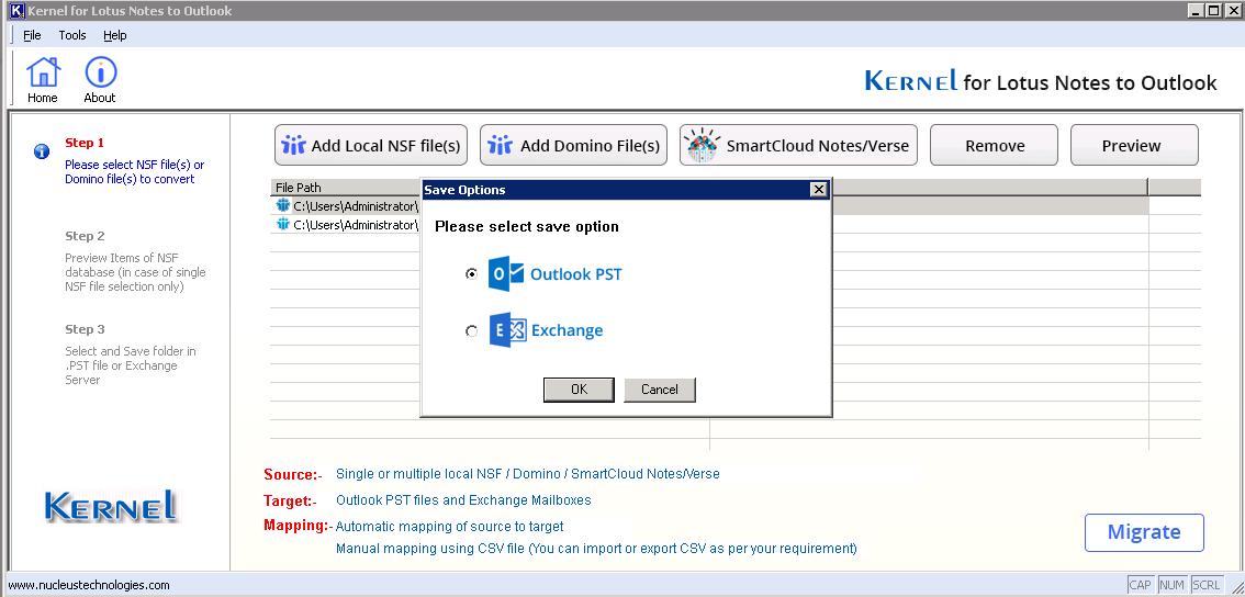 Select PST file as a saving option