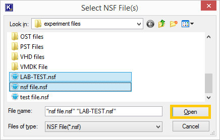 Select NSF files to Migrate