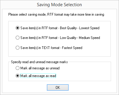 Select saving mode