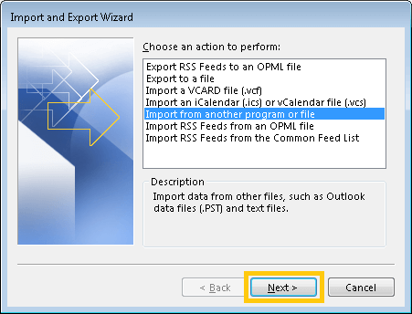 Select Import from another program or file