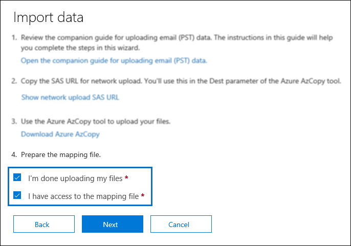 PST Import job in Office 365