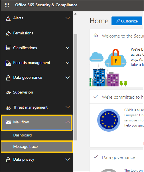 Office 365 Security & Compliance page