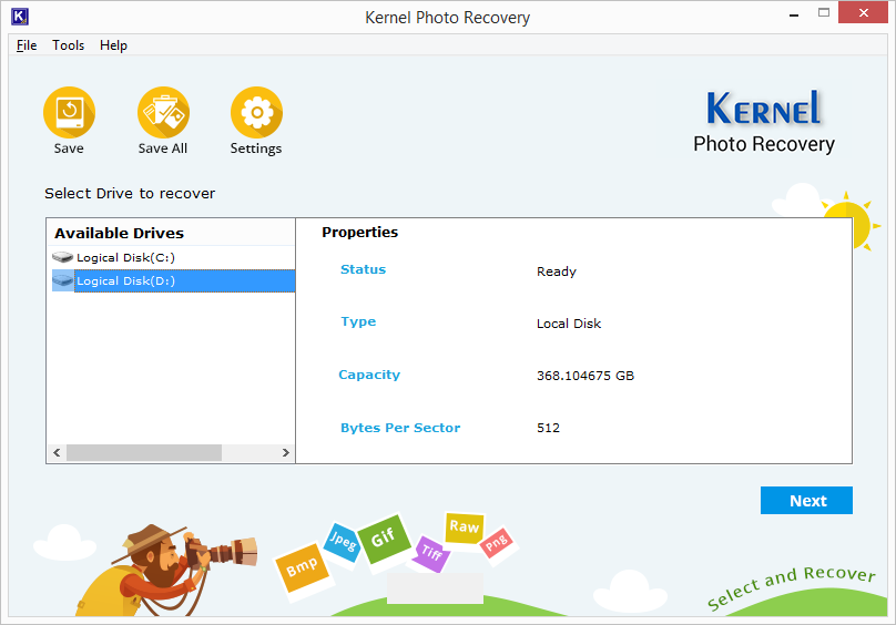 Kernel Photo Recovery - Home Screen