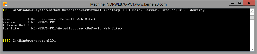 command to get Autodiscover virtual directory information