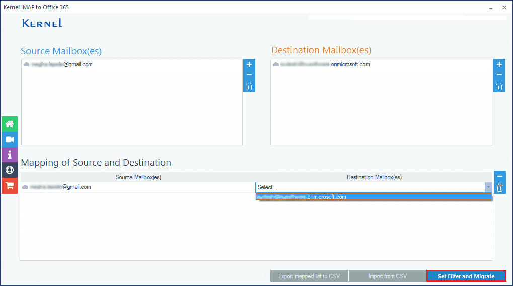 Map the source IMAP mailbox with the Office 365 mailbox