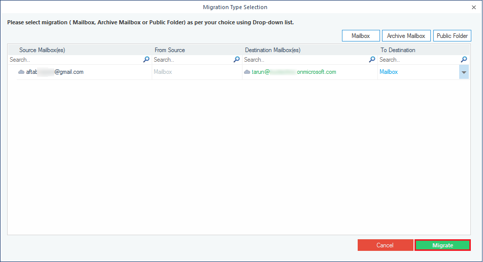 Select mails to migrate
