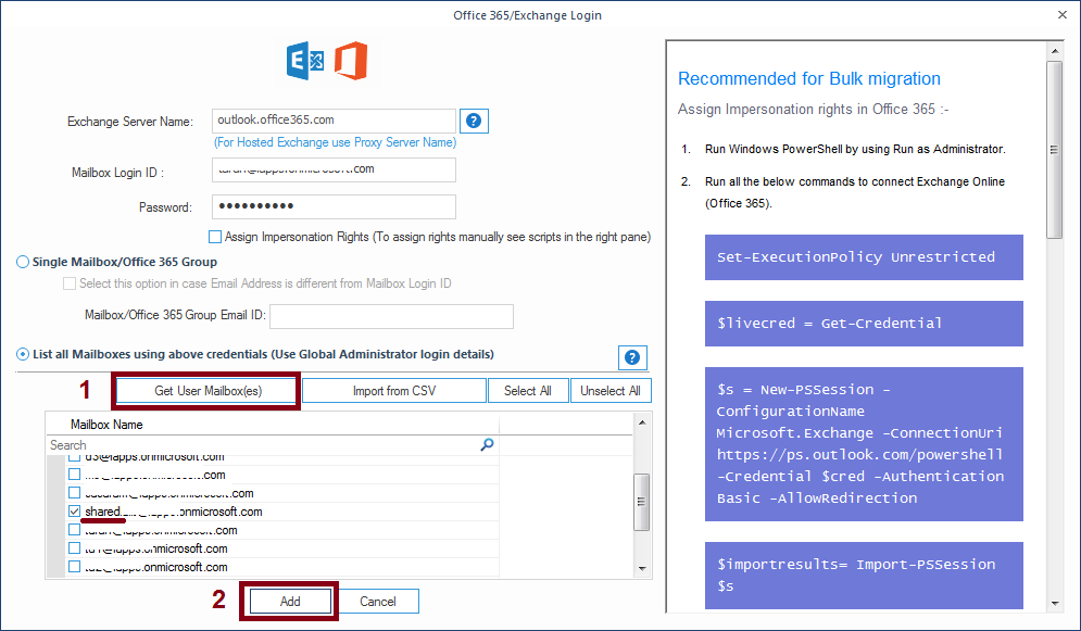 Add Office 365 account details