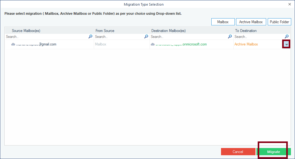 Select mailbox folder where you want to migrate