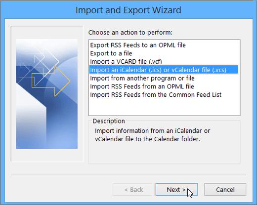 select Import an iCalendar or vCalendar file