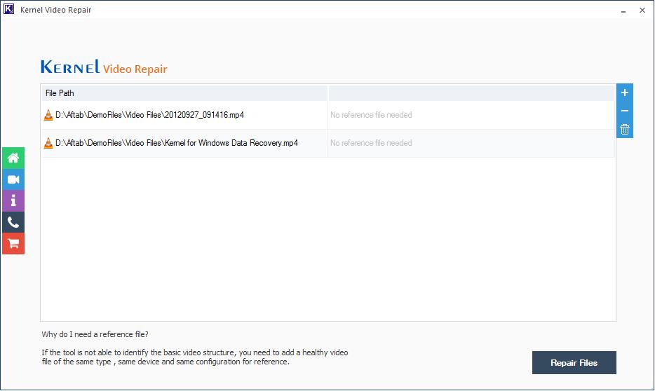 click Repair Files option