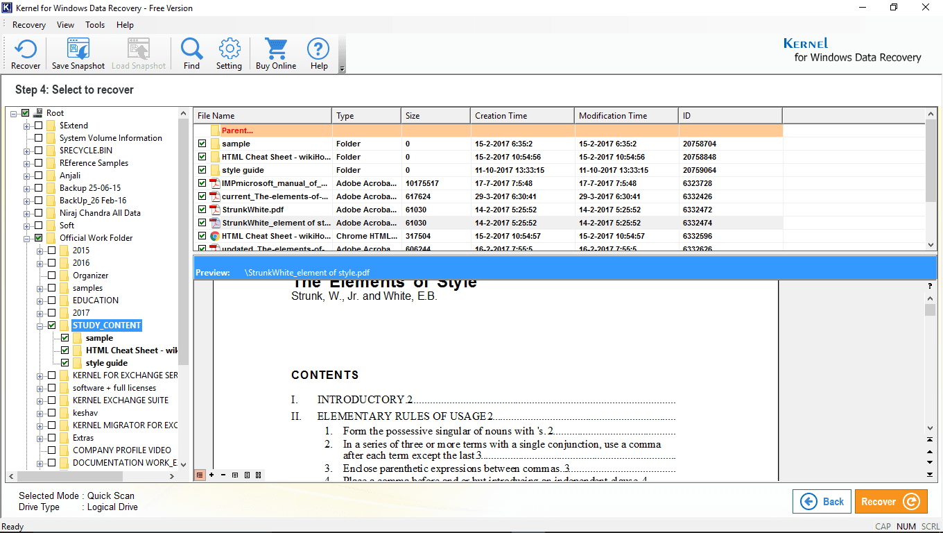 displaying all the recovered folders in left pane