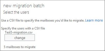 Select the mailbox to migrate