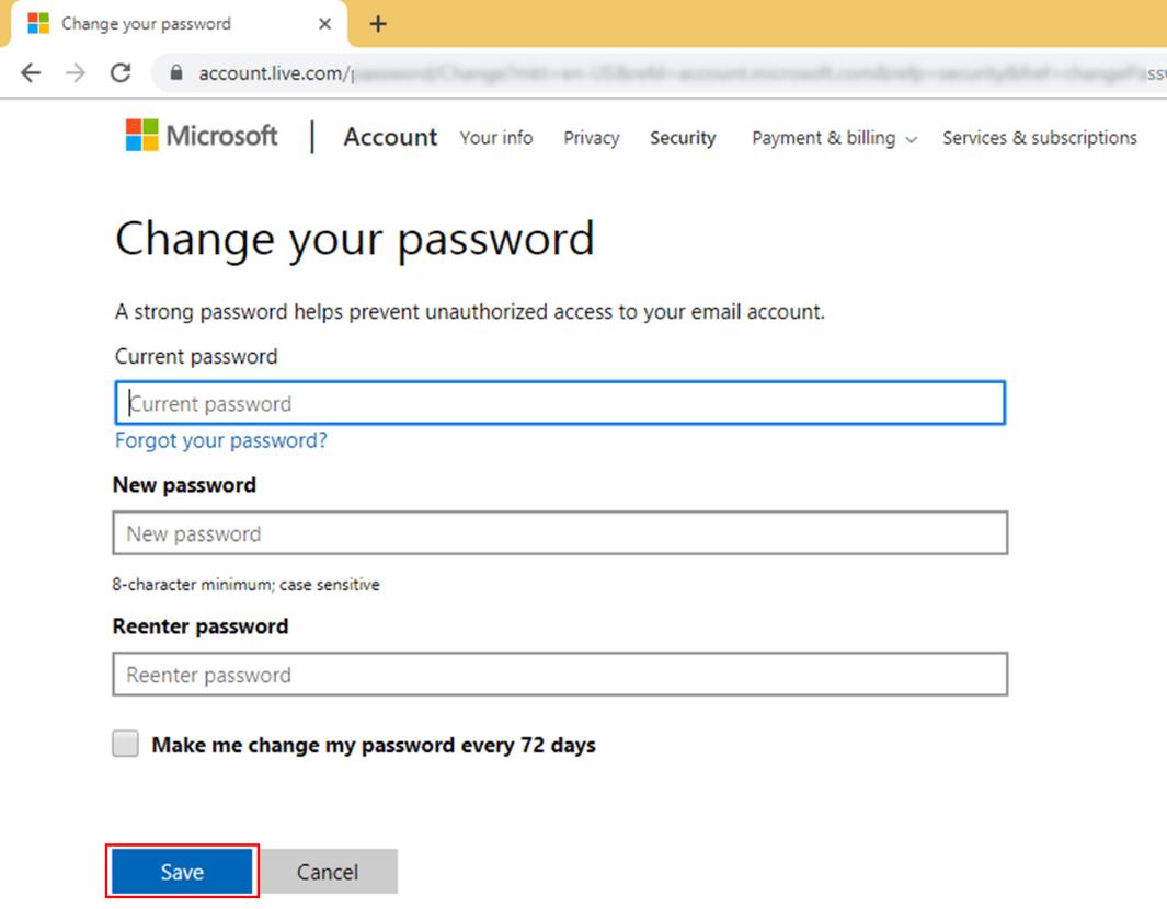 Reenter the new password