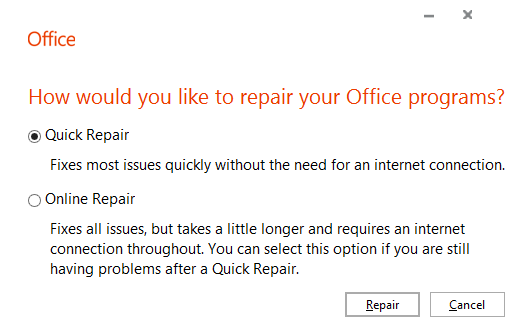 Check options for reparing