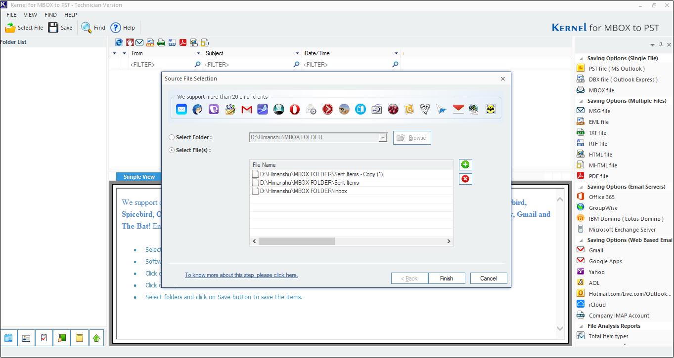 Select MBOX file