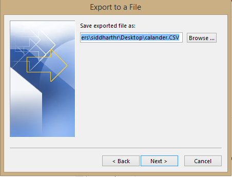 select location to save the.csv file