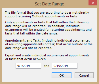 set a date range