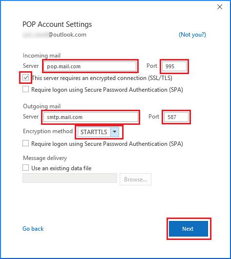 Configure POP account